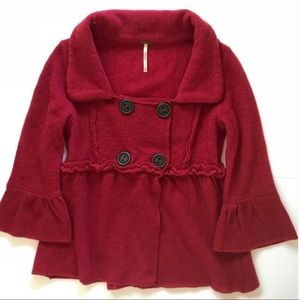 Free People Red Double Button Cardigan Sweater MED